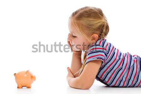 ストックフォト: 女の子 · 貯金 · お金 · 背景 · 金融