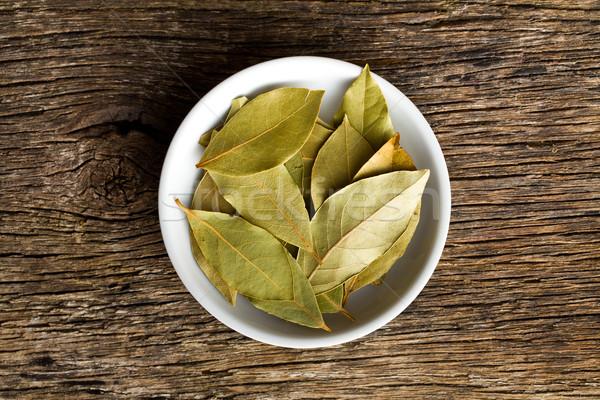 bay leaves in ceramic bowl Stock photo © jirkaejc