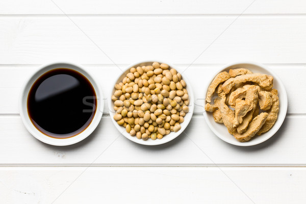 soy sauce, soybeans and soy meat Stock photo © jirkaejc