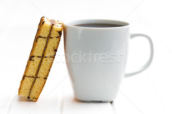 Kávésbögre édes desszert étel torta asztal Stock fotó © jirkaejc