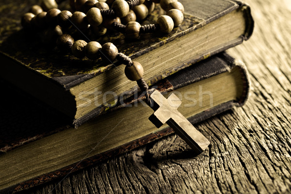 rosary beads on old books Stock photo © jirkaejc