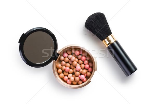 Gyöngyök sminkecset arc szépség labda fekete Stock fotó © jirkaejc