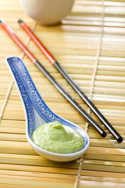 Yeşil wasabi seramik kaşık gıda sağlık Stok fotoğraf © jirkaejc