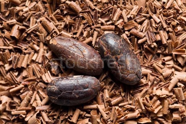 cocoa beans with chocolate shavings Stock photo © jirkaejc