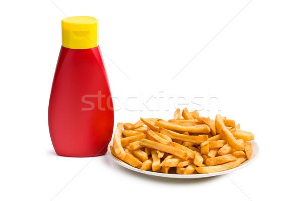 Fles ketchup witte eten lunch Stockfoto © jirkaejc