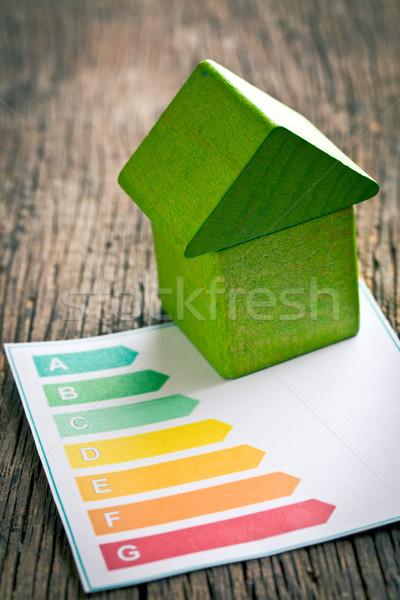 Fából készült ház energiahatékonyság épület zöld játék Stock fotó © jirkaejc
