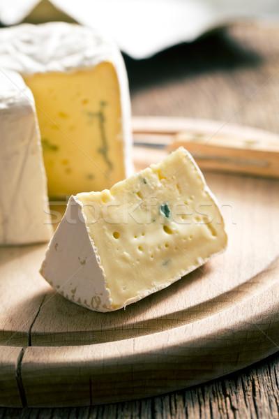 ブルーチーズ まな板 背景 青 チーズ ミルク ストックフォト © jirkaejc