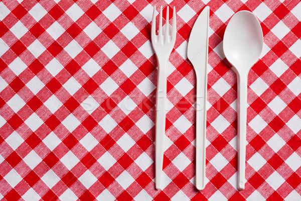 Kunststoff Besteck schachbrettartig Tischdecke Essen Abendessen Stock foto © jirkaejc