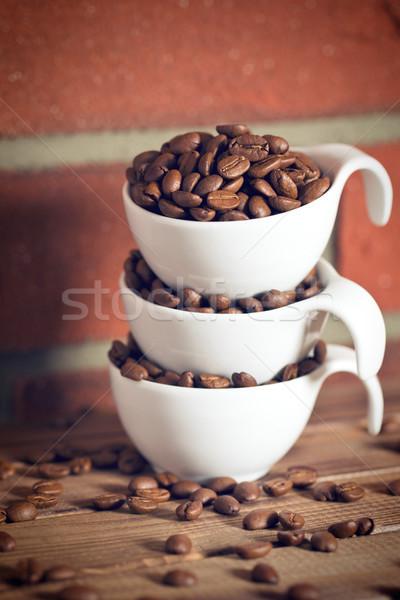 Chicchi di caffè ciotola muro di mattoni alimentare caffè muro Foto d'archivio © jirkaejc
