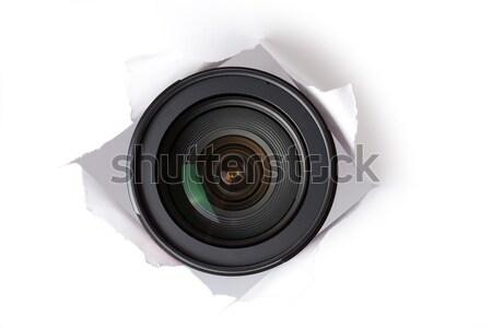 Obiektyw otwór papieru bezpieczeństwa cyfrowe Zdjęcia stock © jirkaejc