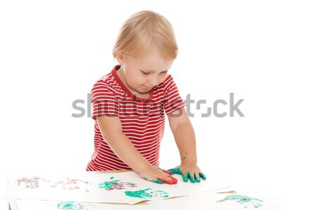 little girl drawing with her hands Stock photo © jirkaejc