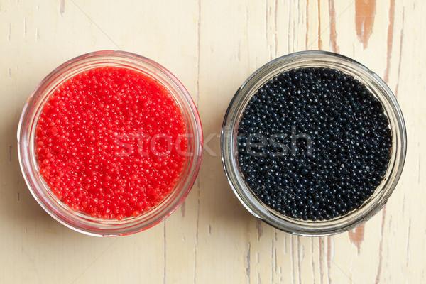 Foto stock: Rojo · negro · caviar · tazón · foto · tiro