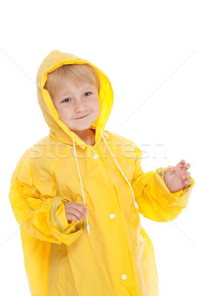 Gyermek citromsárga esőkabát stúdiófelvétel nyár portré Stock fotó © jirkaejc