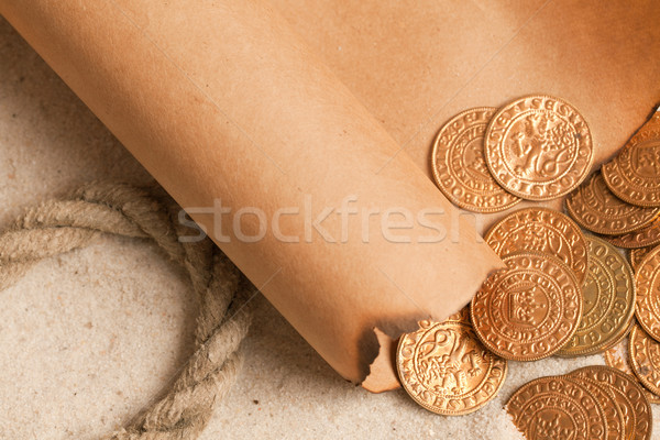 treasure map and golden coins Stock photo © jirkaejc