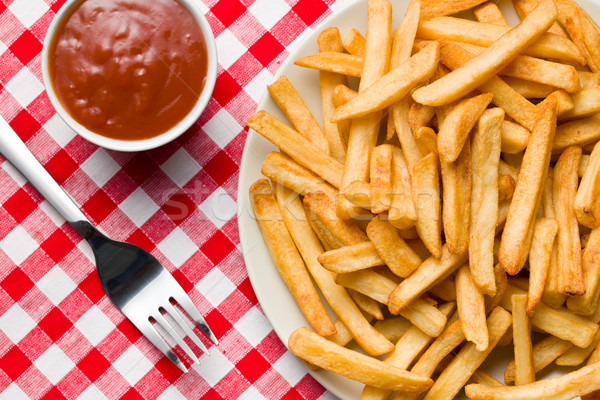 french fries on plate with ketchup Stock photo © jirkaejc