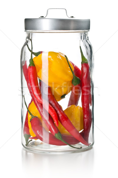 chili peppers and habanero in glass jar Stock photo © jirkaejc