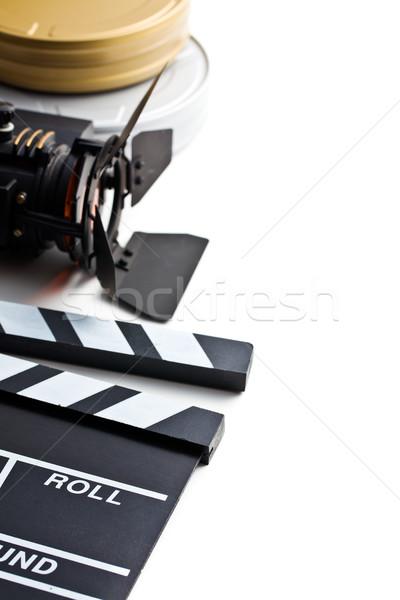 Pokładzie film świetle rolek biały tle Zdjęcia stock © jirkaejc