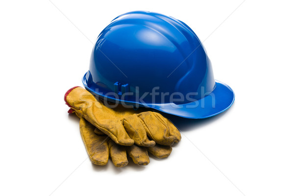 blue hardhat and leather working gloves Stock photo © jirkaejc