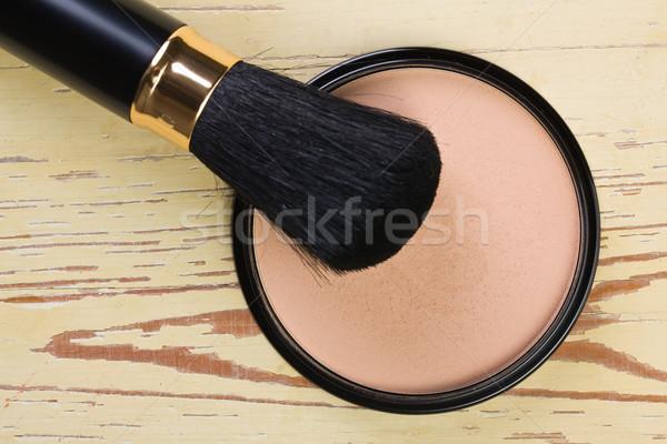 Sminkecset kozmetikai por kompakt szem háttér Stock fotó © jirkaejc