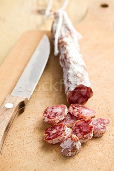 Stockfoto: Witte · salami · worst · keukentafel · koe · varken