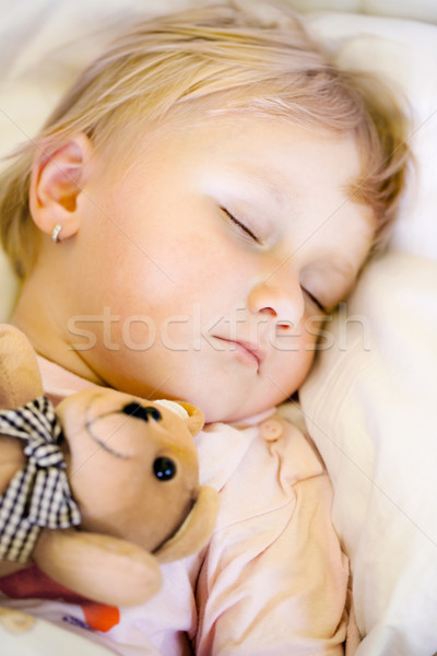 sleeping child with teddy bear Stock photo © jirkaejc