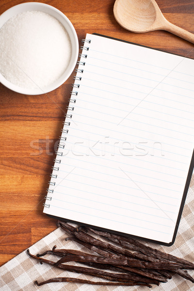 blank recipe book and vanilla pods Stock photo © jirkaejc