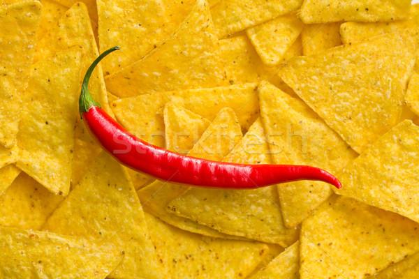 Tortilla chips chile superior vista rojo Foto stock © jirkaejc