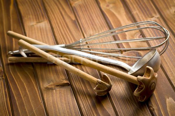 kitchenware on wooden table Stock photo © jirkaejc