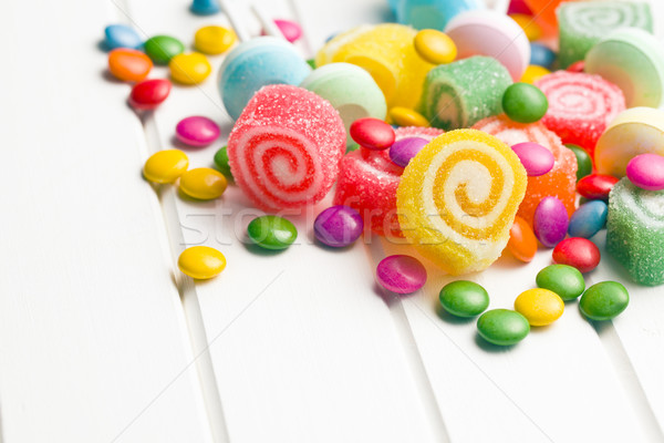 Kleurrijk snoep witte tabel voedsel verjaardag Stockfoto © jirkaejc