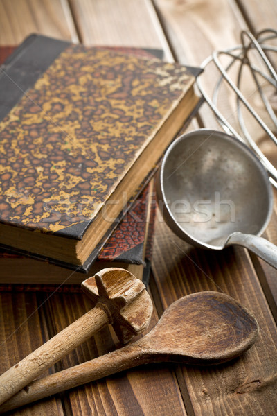 kitchen tools with cookbook Stock photo © jirkaejc