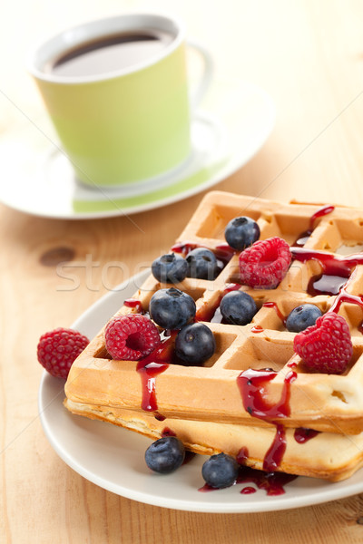 tasty waffle with fruits Stock photo © jirkaejc