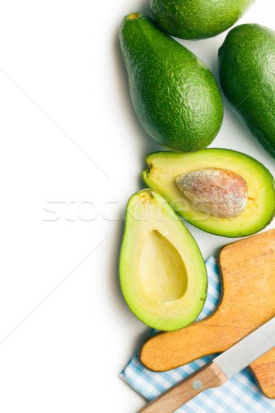 Сток-фото: зеленый · ножом · разделочная · доска · продовольствие · фон · еды