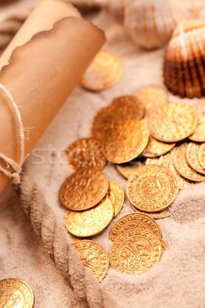 Карта сокровищ монетами карта Финансы антикварная Сток-фото © jirkaejc