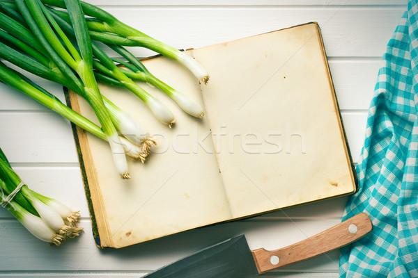 Vecchio ricetta libro primavera cipolla alimentare Foto d'archivio © jirkaejc