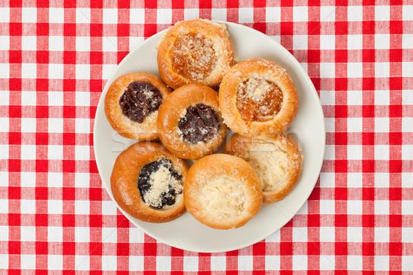 Kuchen schachbrettartig Tischdecke Foto erschossen Essen Stock foto © jirkaejc