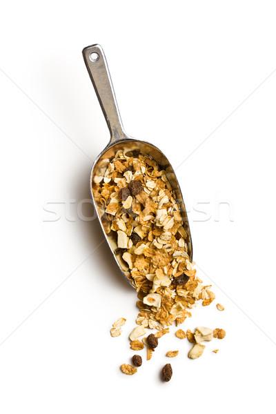 Knapperig müsli schep witte voedsel achtergrond Stockfoto © jirkaejc