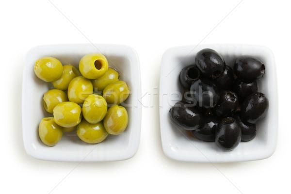Verde aceitunas negras foto tiro alimentos negro Foto stock © jirkaejc
