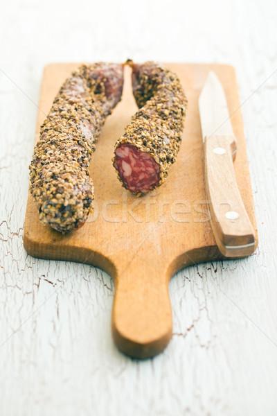 Gedroogd worst peperkorrel voedsel mes Stockfoto © jirkaejc