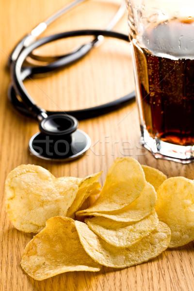 Stock fotó: Egészségtelen · étel · sós · eszik · krumpli · sztetoszkóp · vág