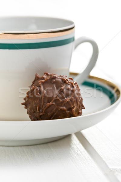 chocolate truffle with ceramic cup Stock photo © jirkaejc