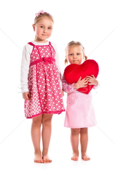 Dois irmãs coração bebê amor Foto stock © jirkaejc
