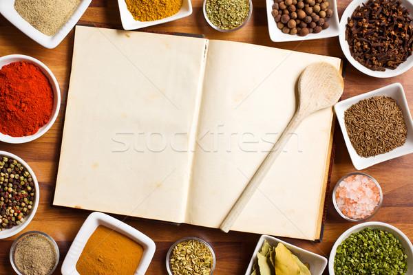 Książka kucharska różny przyprawy zioła żywności książki Zdjęcia stock © jirkaejc