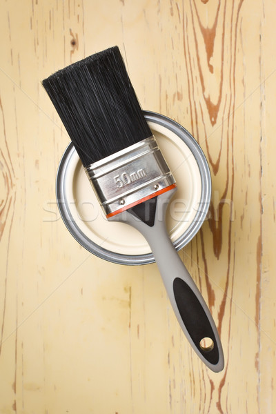 Stock photo: paint brush and tin can