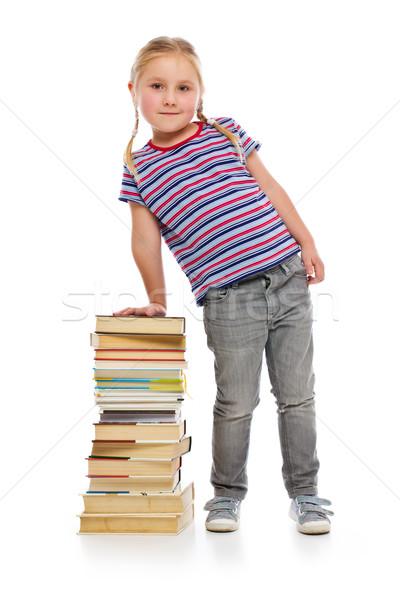 ストックフォト: 女の子 · 図書 · 白 · 少女