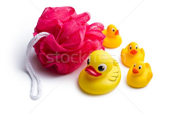 yellow bath ducks and bath puff Stock photo © jirkaejc