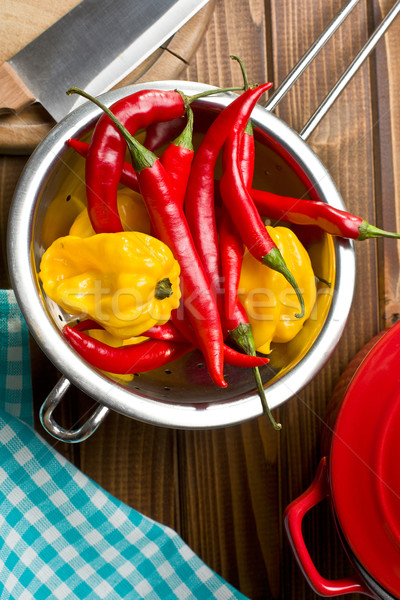 chili peppers with habanero in colander Stock photo © jirkaejc