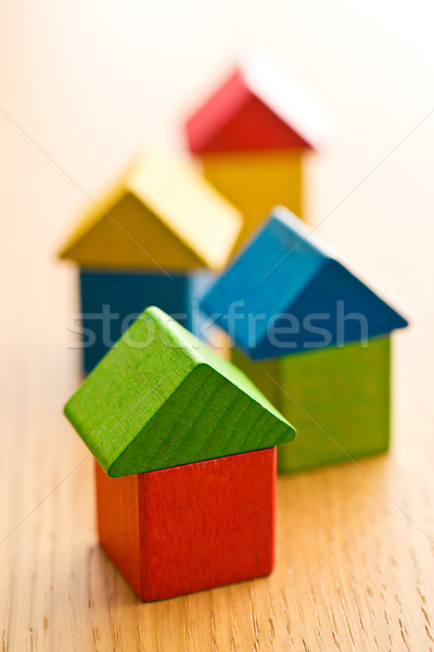 houses made from wooden toy blocks Stock photo © jirkaejc