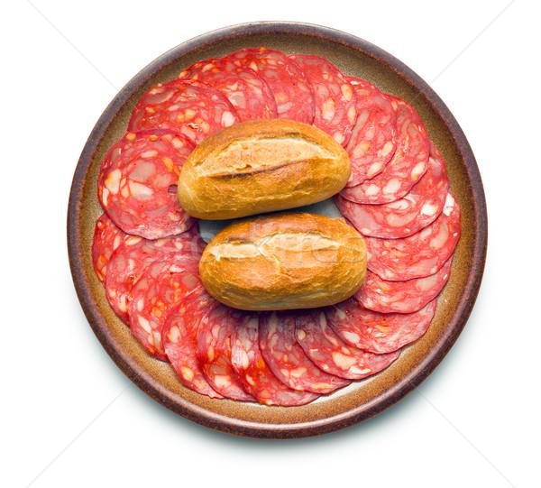 чоризо салями продовольствие пластина мяса Сток-фото © jirkaejc