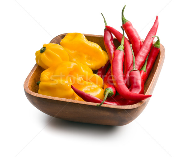 chili peppers and habanero in wooden bowl Stock photo © jirkaejc
