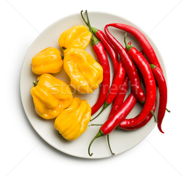 chili peppers and habanero on plate Stock photo © jirkaejc